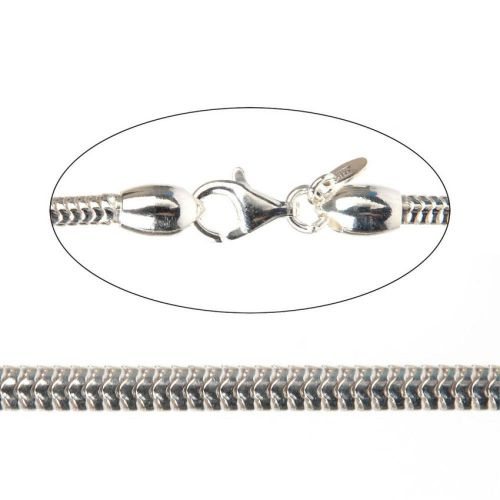X- Sterling Silver 925 Bracelet Snake Chain 3mm with Lobster Clasp 18.3cm