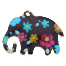 SweetCharm ™ Elephant / charms pendant / 18x23x2mm / gold plated / multi coloured flowers / 2pcs