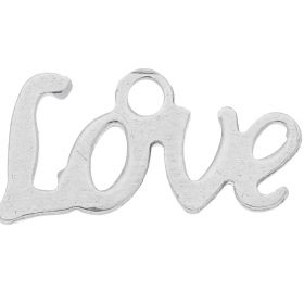 Love / charm pendant / surgical steel / 6.5x12.5x1mm / silver / 4pcs