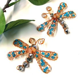 Beads Direct Gold and Blue Dragonfly Necklace and Brooch Kit - Makes x5