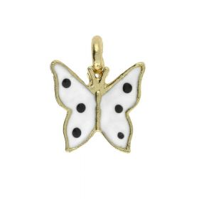 SweetCharm ™ Butterfly / charm pendant / 13x11x3.5mm / gold plated / white / 2pcs