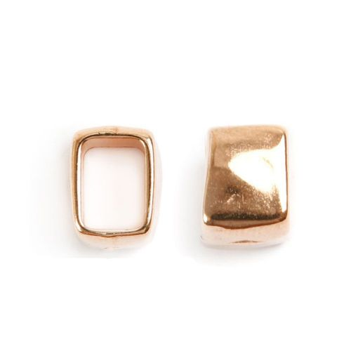 Rose Gold Plated Zamak Square Charm Ring Bead 10x11x13mm Pk1