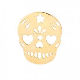 Gold Plated Sterling Silver 925 Mexican Sugar Skull Charm 15x18mm Pk1