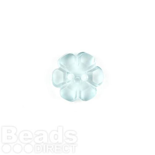 Turquoise Transparent Flower 2 Hole Buttons 13mm Pk5