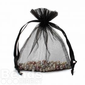 "Black Organza Bag 5""x6.5"" Pack 5"