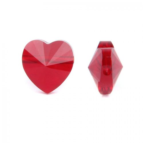 5742 Swarovski Crystal Heart 10mm Siam Side Drill Pack 2