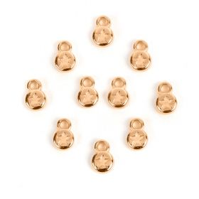 Rose Gold Plated Zamak Small Round Star Coin Charm 6mm Pk10