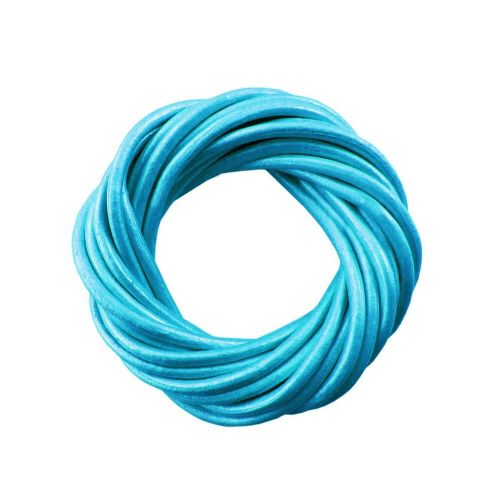 Leather cord / natural / round / 4mm / bright blue / 2m