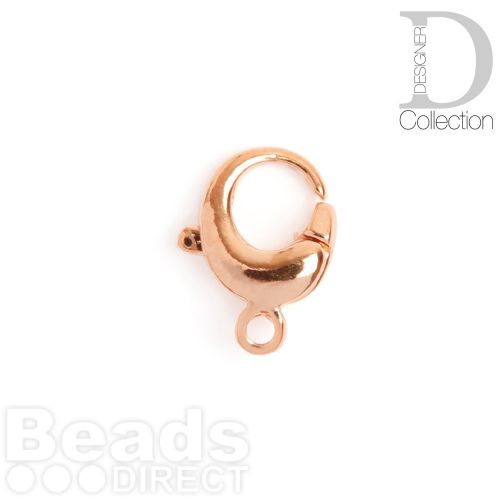 Rose Gold Plated Brass Round Lobster Clasp 13mm Pk1