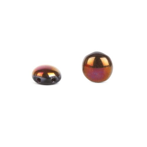 """X"" Preciosa Pressed Glass Candy Twin Hole Beads Black/Purple 8mm Pk30"