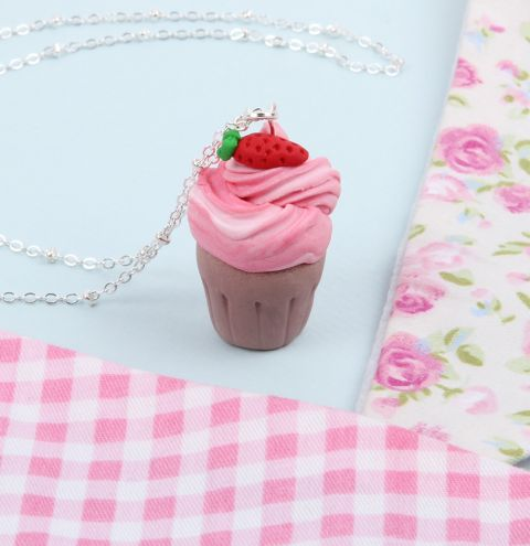 Strawberry Cupcake Necklace