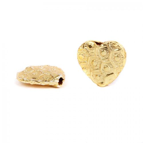 X- Gold Plated Fancy Heart Bead Long Drilled 12mm Pk5