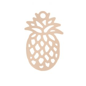 Rose Gold Plated Brass Filigree Pineapple Charm 9x15mm Pk10
