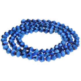 CrystaLove™ crystals / glass / bicone / 4mm / dark blue / lustered / 110pcs
