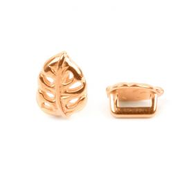 Rose Gold Plated Zamak Leaf Slider Bead 7x10mm Hole-2x5mm Pk1