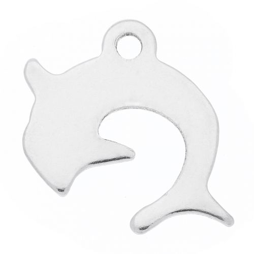 Dolphin / pendant / surgical steel / 14x15.5x1mm / silver / 4pcs