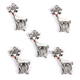 Antique Silver Xmas Reindeer Charm 21x24mm Pk5