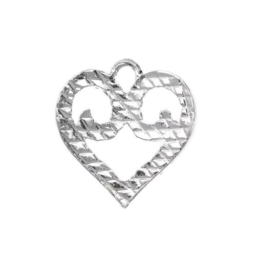 Glamm ™ Heart / charm pendant / with zircons / 19.5x19x3mm / silver plated / 1pcs