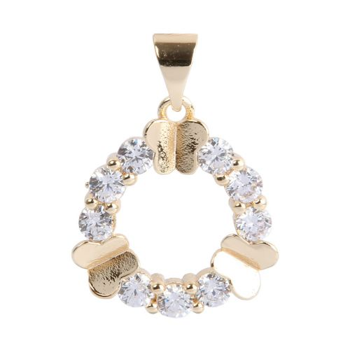 Gold Plated Circle Butterfly Charm w/Bail Zircon Crystals 16mm Pk1