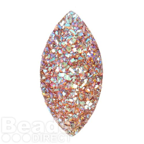 Fire Opal AB Sparkly Resin Marquise Flat Back Cabochon 13x26mm Pk10