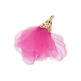 Tulle flower / with openwork tip / 30mm / Gold Plated / dark pink / 2 pcs