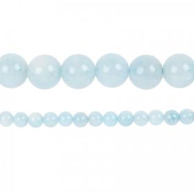 "Aquamarine Semi Precious Round Beads 10mm 15"" Strand"