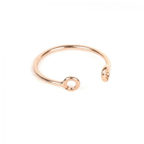 X Rose Gold Plated Sterling Silver 925 2 Hole Ring Base 18mm Pk1