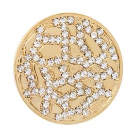Gold Plated Crystal Fancy Coin Disk for Interchangeable Locket 32mm Pk1