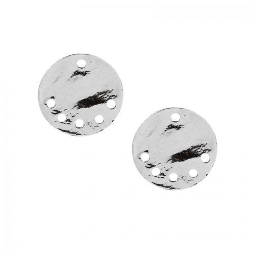 X-Silver Plated Small Flat Disk Charm with 5 Holes 15mm Pk2