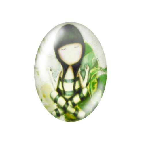 Glass cabochon with graphics oval 13x18mm PT1504 / green / 2pcs