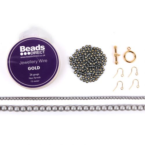 Beads Direct Wire Wrapped Beaded Chain Jewellery Set - Grey and Gold