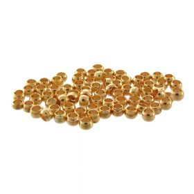 Copper spacer beads / round / 3mm / light gold / hole 1.2mm / 100pcs