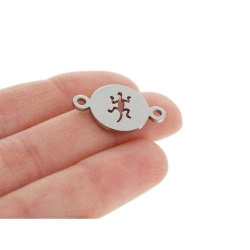 Salamander / connector / surgical steel / 14x22x1mm / silver / 1pcs