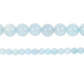 "Aquamarine Semi Precious Round Beads 8mm 15"" Strand"