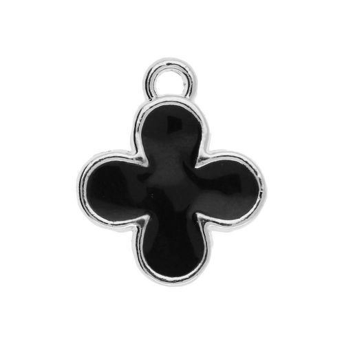 SweetCharm™ Clover / charm pendant / 15x12x2mm / silver plated / black / 2pcs