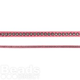 Pink Swarovski Real Leather with Crystals 6mm approx 50cm