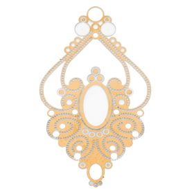 Rhombus / pendant filigree / surgical steel / 44x25mm / dark gold plated / 1pcs