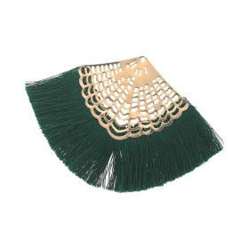 Fan tassel / viscose thread / openwork base / 65mm / bottle green / 1pcs
