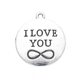I love you / charm pendant / 27x24x2.5mm / silver / 2pcs