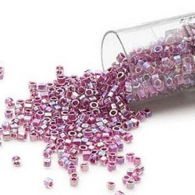 Miyuki Delica Cut Size 11 Beads Colour-Lined Rainbow Magenta 5g