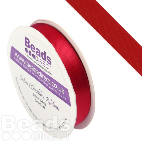 X-Red Double Satin Ribbon 9mm Sold on a 5 Metre Reel