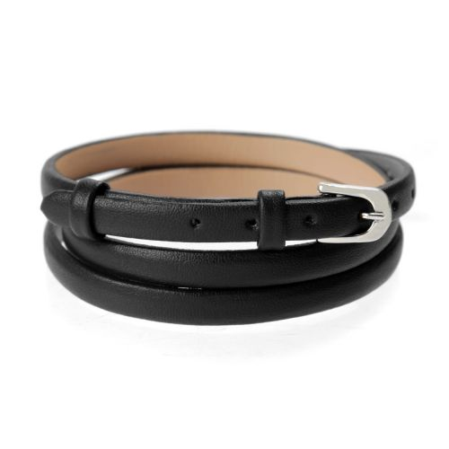 X-Black Faux Leather Bracelet Strap with Buckle and Holes 62cm Pk1