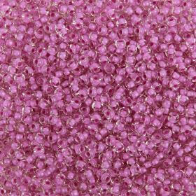 Preciosa Size 9 Rocaille Seed Beads Pink Lined Clear 50g
