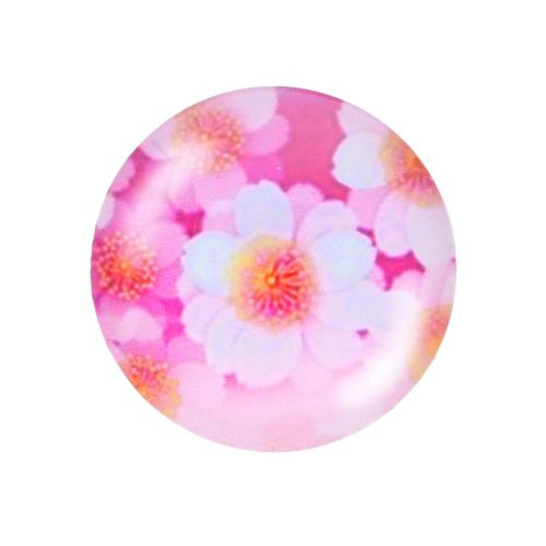 Glass cabochon with graphics K20 PT1473 / pink / 20mm / 2pcs