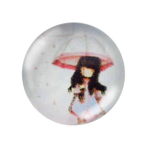 Glass cabochon with graphics 14mm PT1556 / red / 4pcs