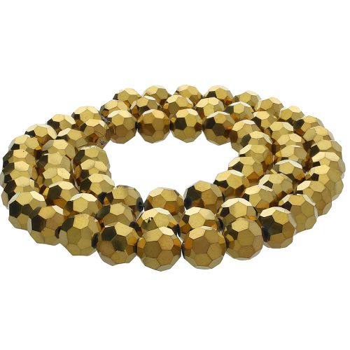 CrystaLove™ crystals / glass / round / 4mm / gold / lustered / 100pcs