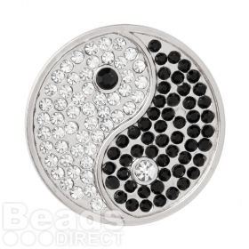 KB Matte Silver Plated Yin and Yang Crystal Coin Disk for Interchangeable Locket 32mm Pk1