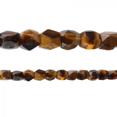 """X"" Tiger Eye Semi Precious Faceted Nugget Beads 12x16mm 15"" Strand"
