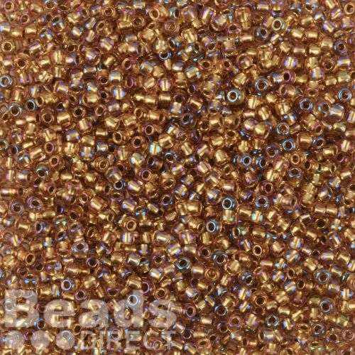 Toho Size 11 Round Seed Beads Inside Colour Rainbow Crystal Gold Lined 10g