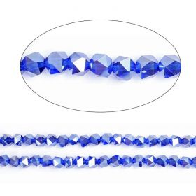 "Cobalt AB Essential Crystal 6mm Faceted Hexagon Beads 20"" Strand"